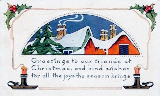 public domain vintage christmas cards with snow-topped houses and candles