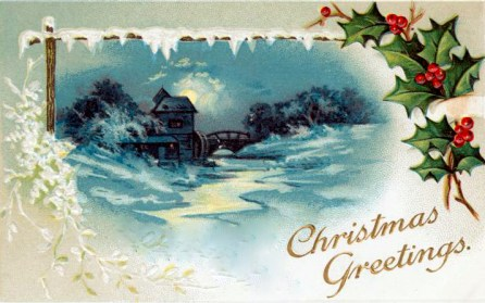 public domain vintage christmas cards with winter scenery