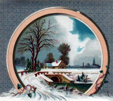 Enjoy this free vintage winter illustration of wintertime scenery from an antique trading card.