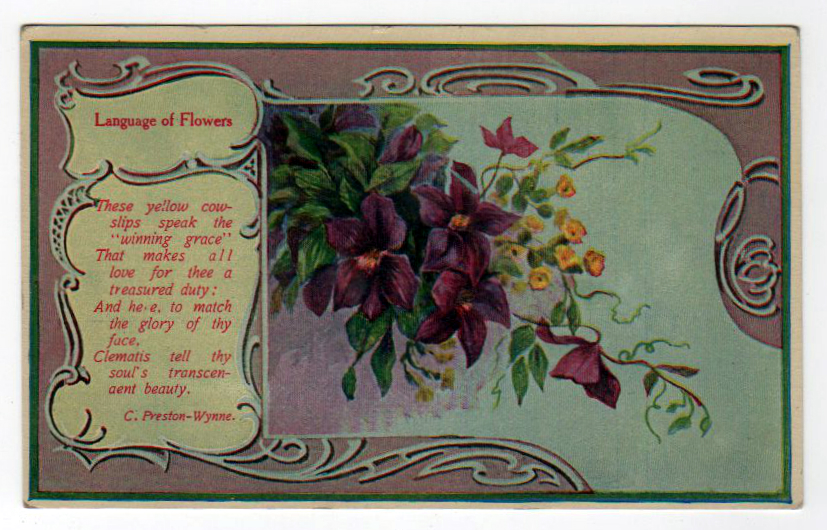 Free Valentine's Day pictures - 19th 20th century purple flower postcard for Valentine's Day