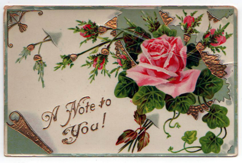 Free Valentine's Day pictures - turn of the century Valentine's Day postcard with rose and gold