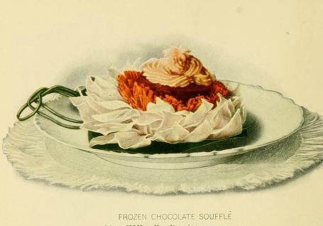 chocolate souffle dessert illustrations early 20th century public domain