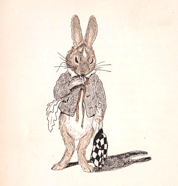 Free illustration of a bunny holding a racing hat from a public domain children's book. Published in 1912!
