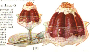 A yummy chocolate jello dessert illustration from a vintage jello cookbook.