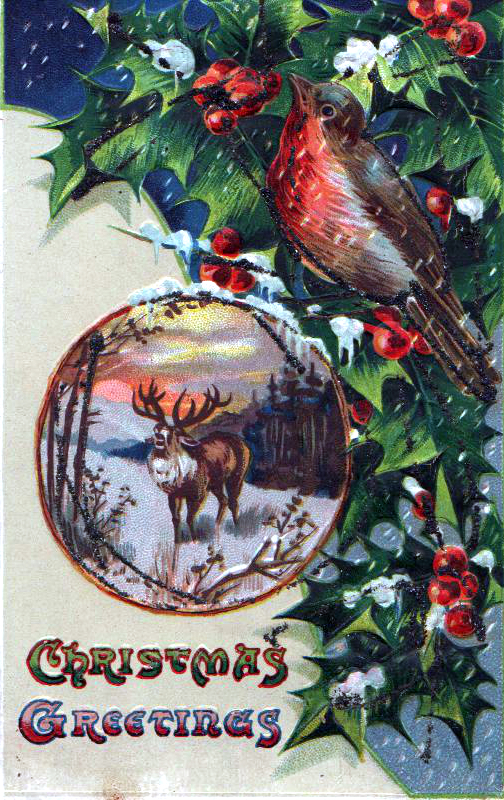 A free Christmas illustration from a vintage holiday greeting card, featuring a classic robin and reindeer. Dated to around the late 19th century to early 20th century.