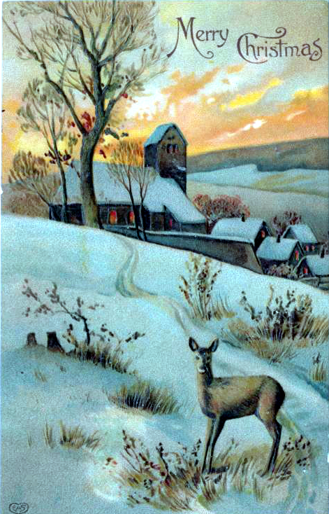 A free Christmas illustration of a deer with winter scenery. From a public domain holiday card from 1910!