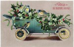 A free vintage Christmas illustration of a holiday car with berries and birds. From and early 20th century French greeting card.