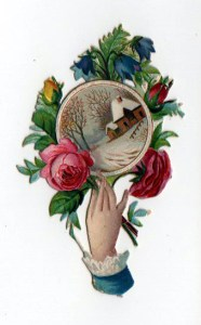 A free vintage Christmas illustration dated to the late 19th-century to turn of the century. Featuring a hand holding a winter bouquet and trinket.