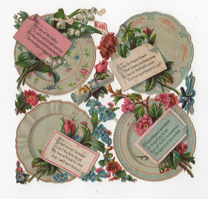 Valentine's Day vintage die cut of flower plates