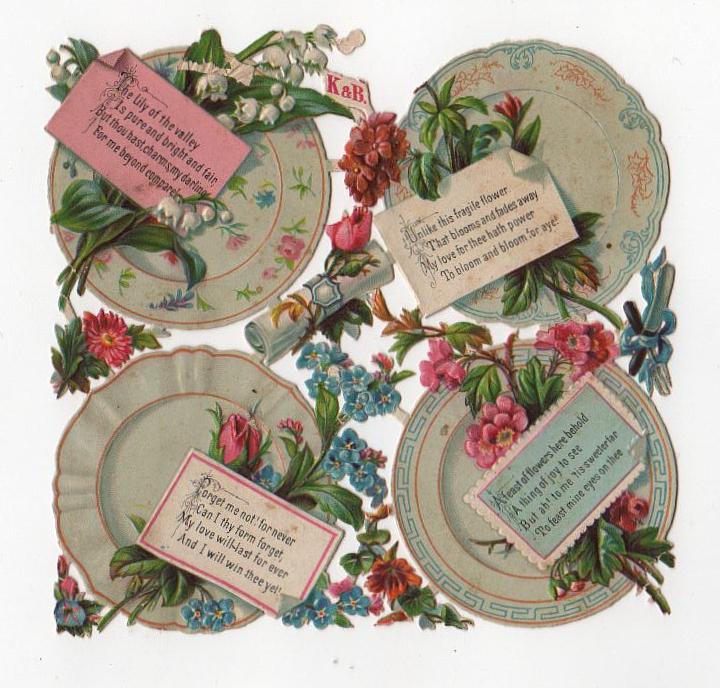 Valentine's Day vintage die cut of flower plates