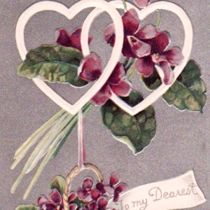 vintage purple valentine with hearts and flowers