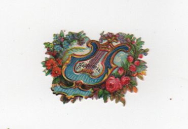 Floral harp happiness vintage die cut