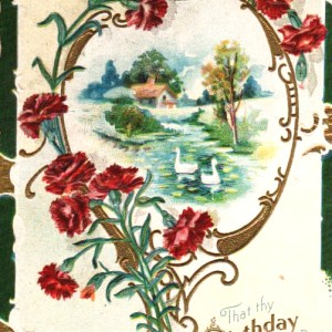 vintage birthday card from 1910 in the public domain.