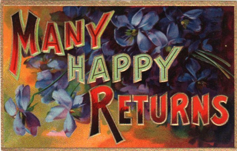 Vintage birthday card with happy returns in public domain.
