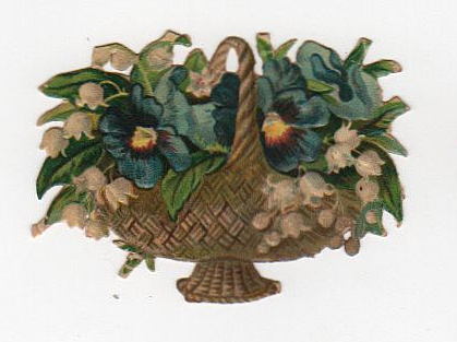 Vintage flower basket die cut