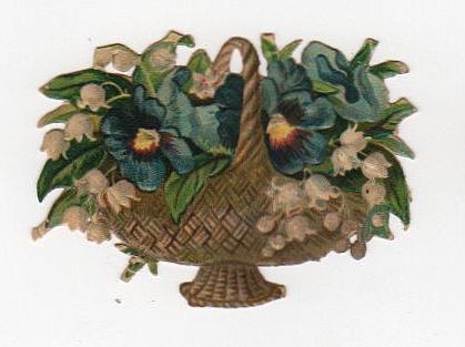Vintage flower basket die cut
