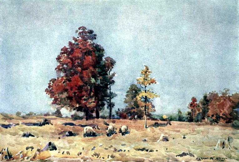 Free public domain vintage landscape of Autumn in England.
