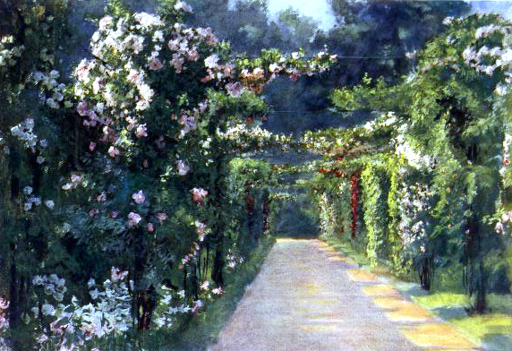 Free vintage landscape of a garden entrance in the early 20th-century.