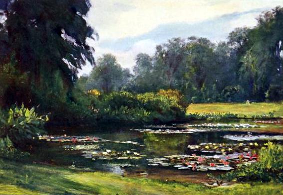 Free public domain vintage landscape of a garden with pond.