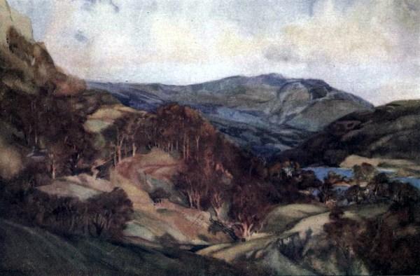 Free public domain vintage landscape of Rydal Water, England.