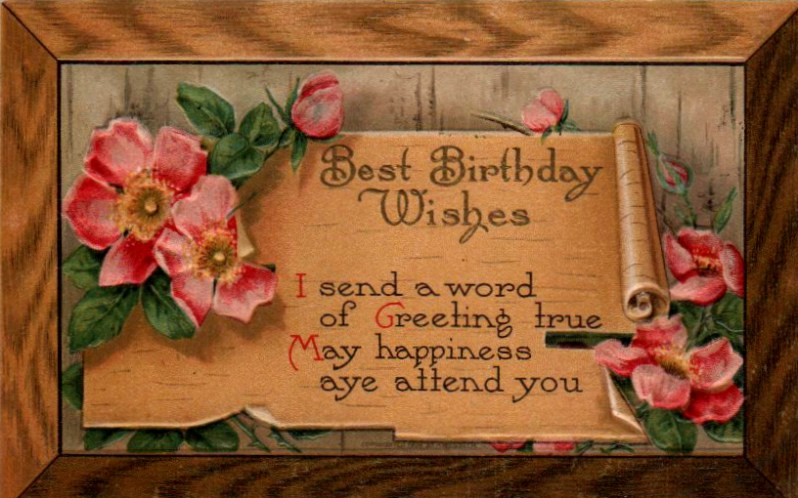 Vintage wooden birthday card with scroll in public domain.
