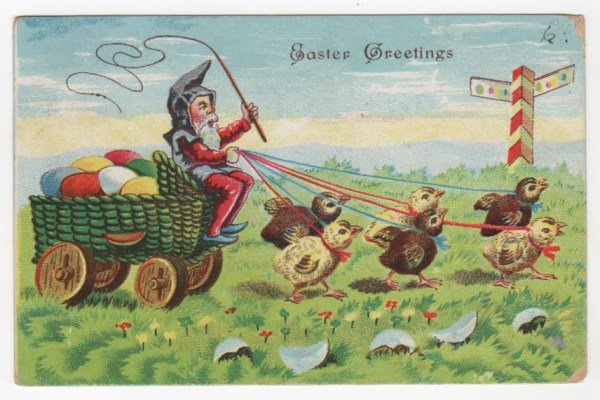 Vintage Easter gnome greeting card public domain