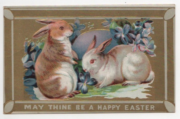 public domain vintage easter greeting with two rabbits