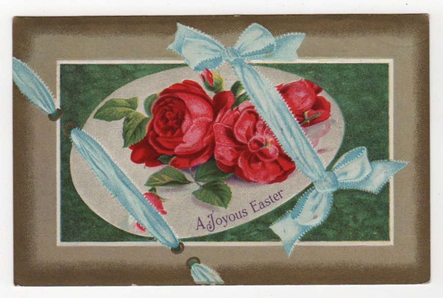 public domain vintage ribbon easter greeting