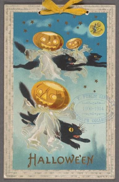 halloween pumpkins black cats 1913
