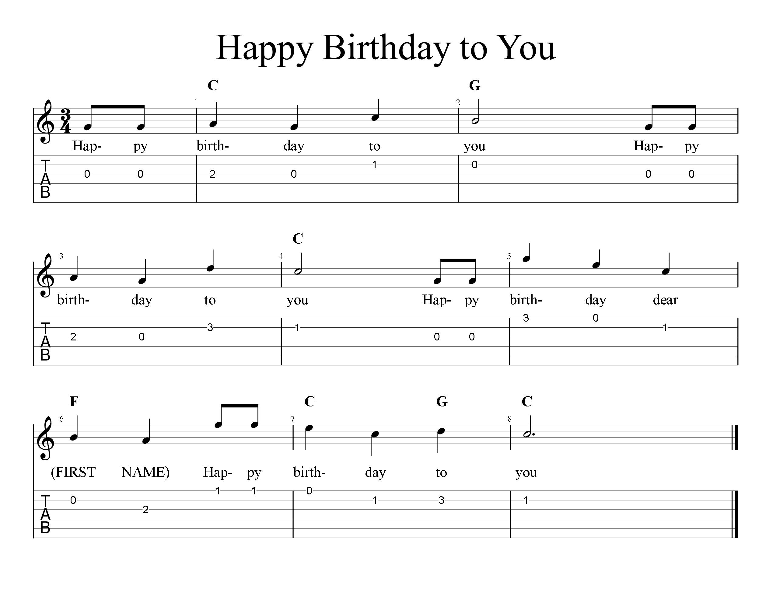 Happy Birthday   Tab & Sheet Music   FreeWheelinGuitar.com