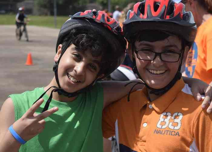 Helmet safety was part of the curriculum at the Freewheels Bike Camp.