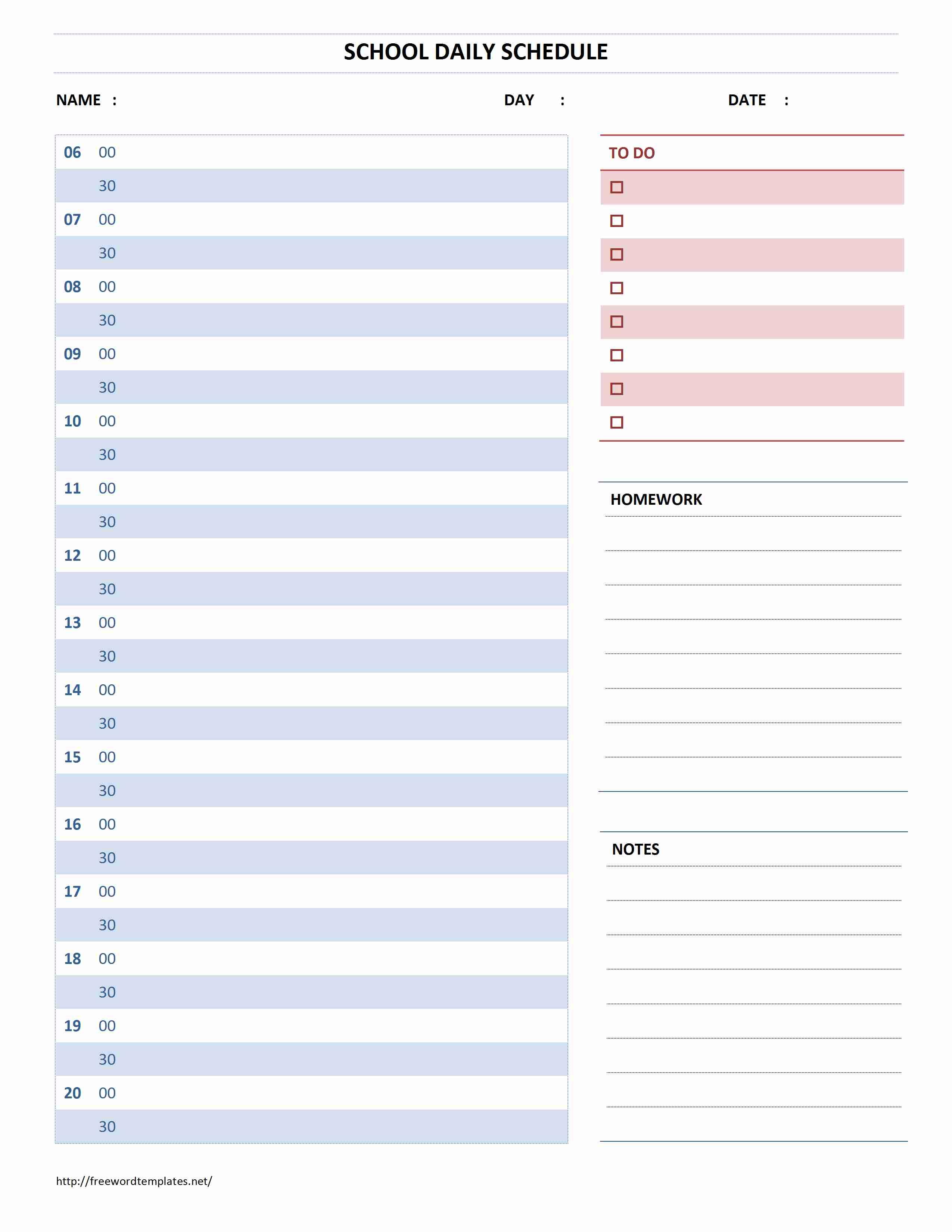 School Daily Schedule