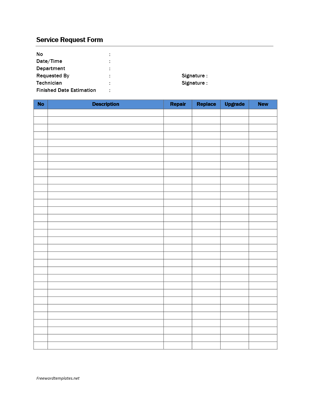 service request form template
