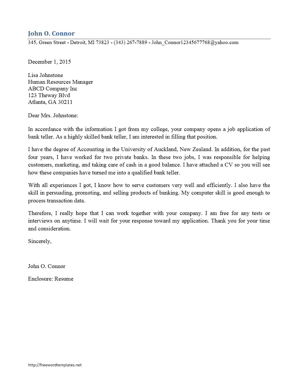 Bank Teller Resume Cover Letter Template - All New Resume ...