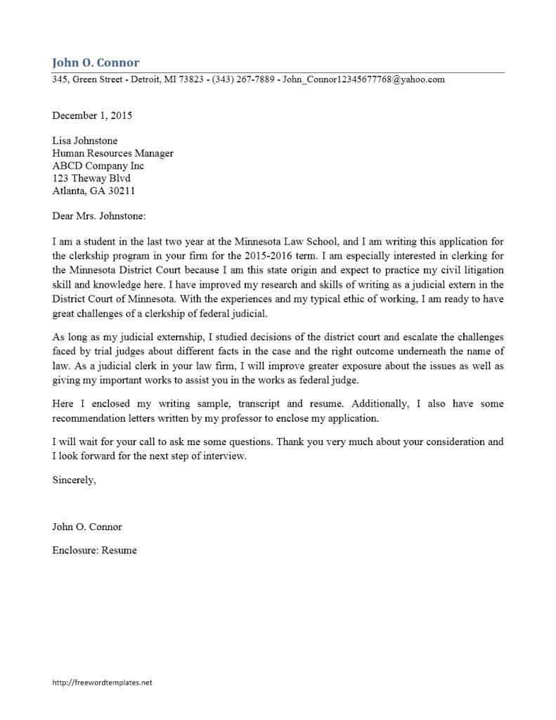 Clerkship Cover Letter