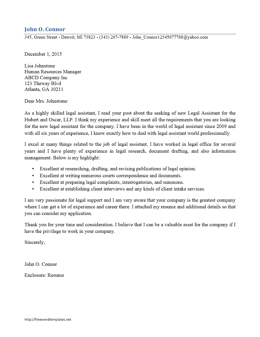 Cover Letter Template  Legal Assistant