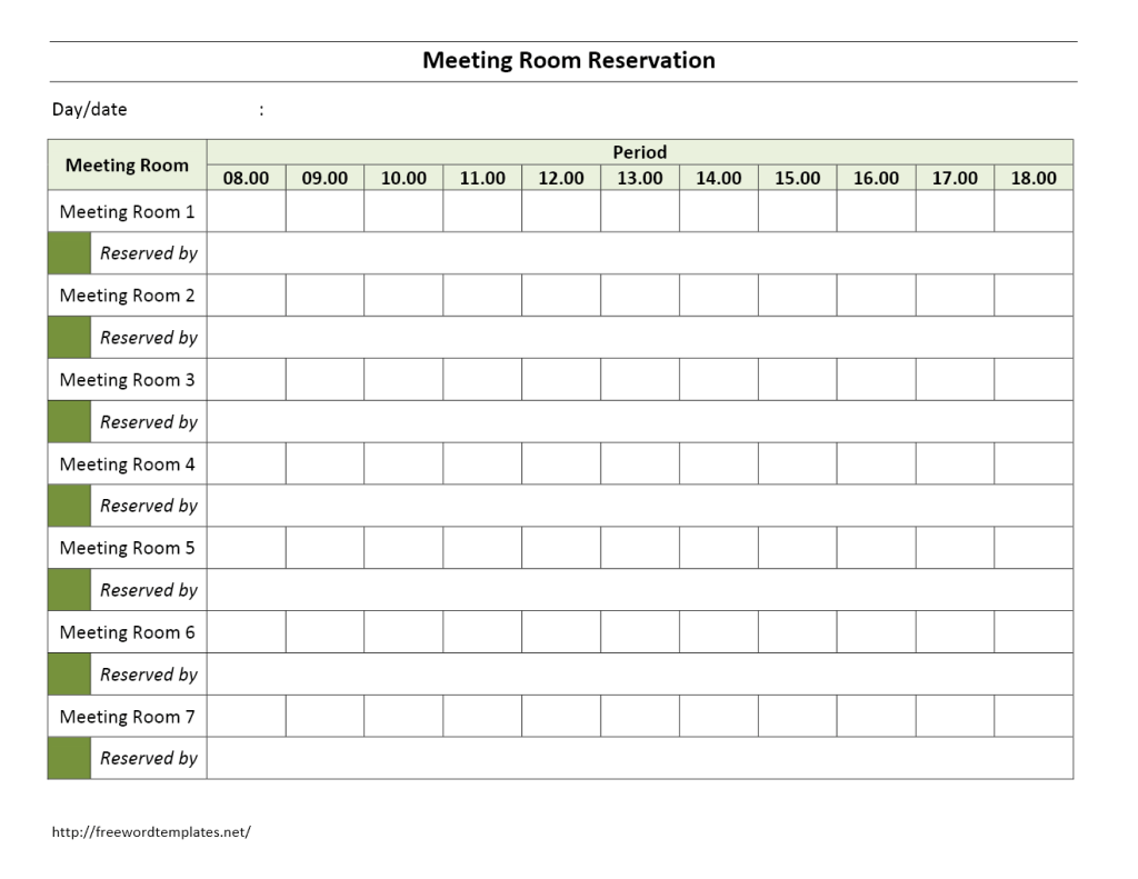 Monthly Meeting Room Calendar Template
