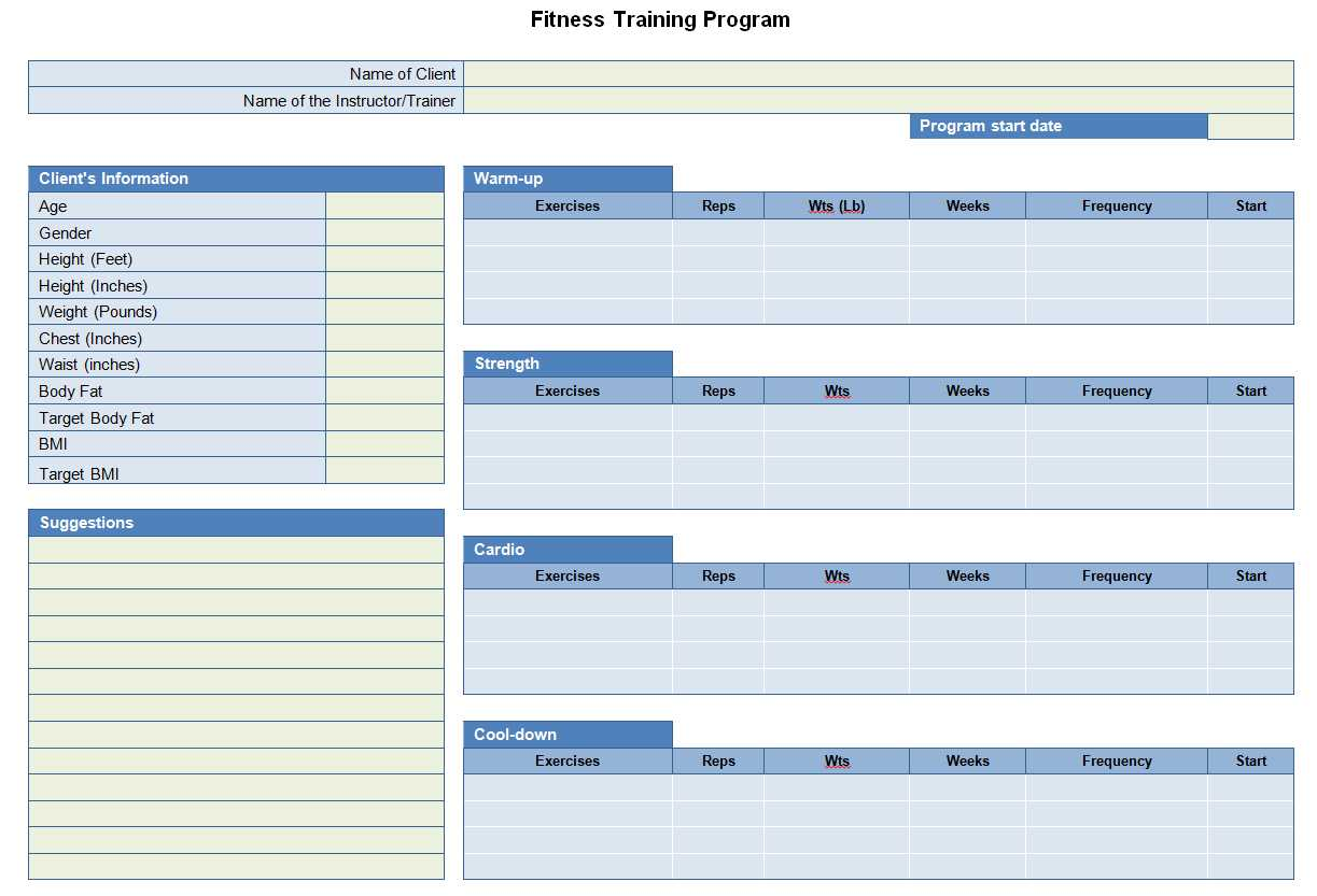 Fitness Training Program Sheet