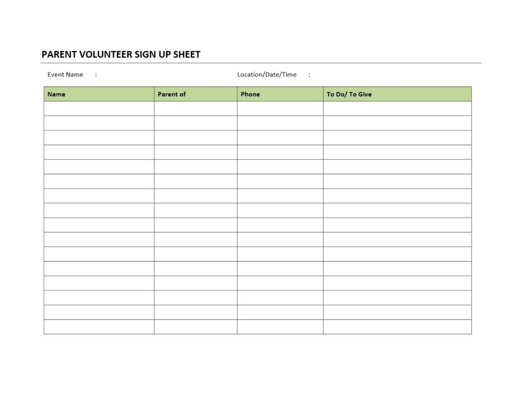 Worksheet Parent Volunteer