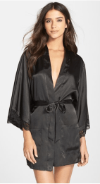 sexy christmas gift silk robe black