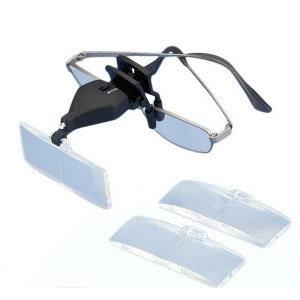 MG19157-2 1.5X 2.5X 3.5X LED Licht Augenbrille Low Vision Clip Lupe Lupe mit LED Licht