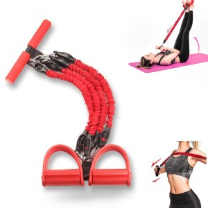 KALOAD Multifunktionales Zugseilpedal 4-Rohr Latex Bodybuilding-Expander Bauch Taille Arm Yoga Stretching Abnehmen Fitness-Trainingsgeräte