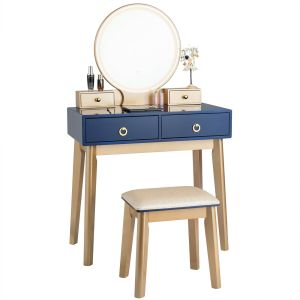 Modern Dressing Table with LED Mirror & Cushioned Stool