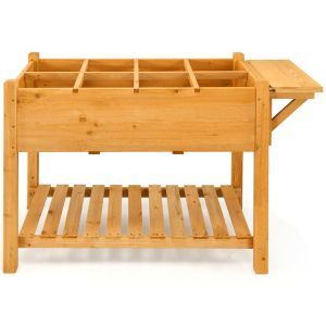 8 Grids Wooden Raised Garden with Folding Lateral Shelf