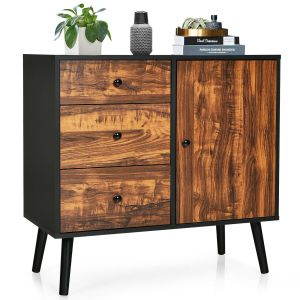 Industrial Wooden Buffet Sideboard with 3 Drawers