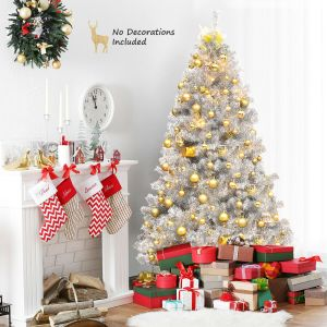 6ft Artificial Silver Hinged Christmas Tree