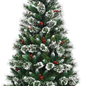 Snow Flocked Christmas Tree with Red Berries and a Metal Base available in 6ft/7ft/8ft