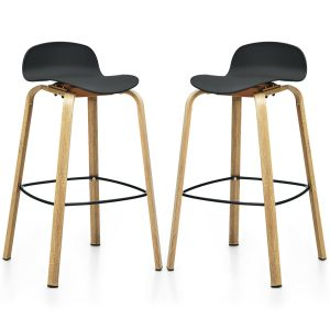 2 x Bar Chairs, High Counter Stools with Footrest