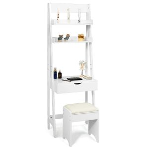 Ladder Styled Dressing Table with Shelves, Mirror and Stool