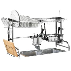 2 Tier Extendable Dish Rack with Utensil Holders in Stainless Steel